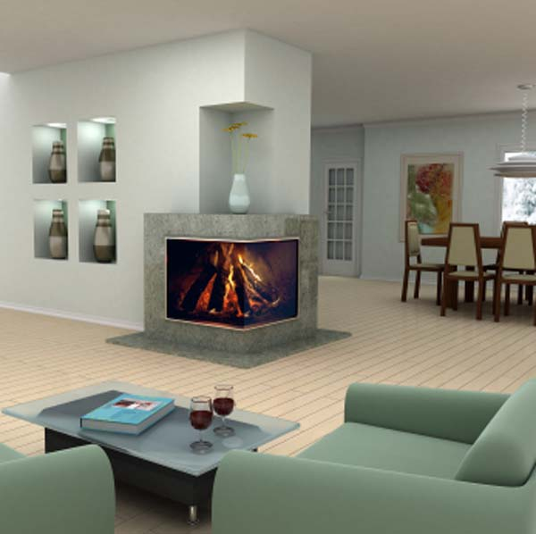 Corner fireplaces modern 2 sided corner fireplace design for Corner fireplace plans
