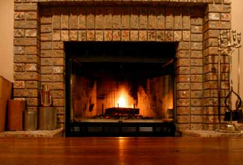 Brick Fireplace Pictures; All Brick Gas Fireplace Design with Decorative Side Accents
