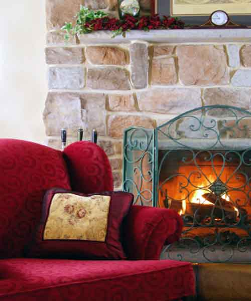 Stone Fireplaces, Stone Fireplace Photo With Bold Red Couch in Design
