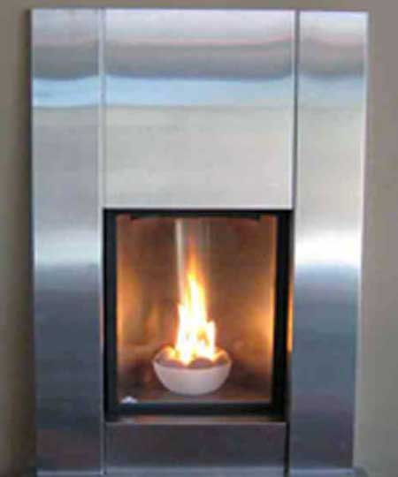 Cool Fireplace Design, Picture of Gas Fireplace Design; Beautiful Picture of a Modern Stainless Steel Fireplace Design fired by Propane Gas